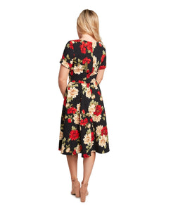 EVA ROSE- FAUX WRAP BLACK FLORAL SWING
