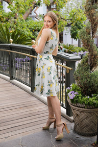 EVA ROSE- LEMON FIT & FLARE DRESS