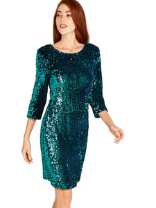 APRICOT- SEQUIN GREEN DRESS