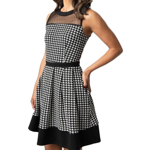SMAK PARLOUR- HOUNDSTOOTH FIT & FLARE