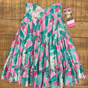 RELOVED- FLAMINGO CIRCLE SKIRT- X SMALL