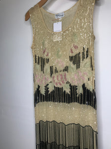 UNIQUE VINTAGE- NUDE FLAPPER DRESS- LARGE