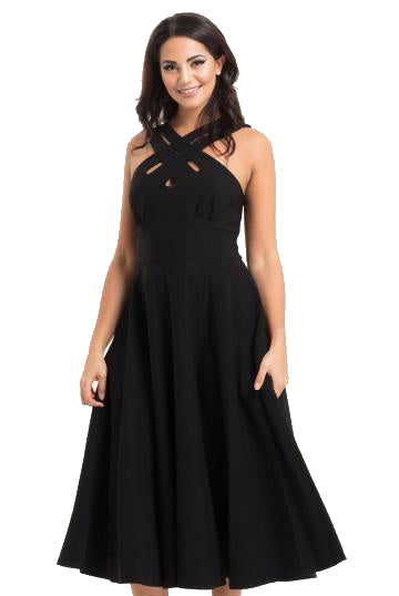 VOODOO VIXEN- AVA BLACK CROSS NECK CIRCLE DRESS