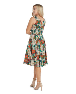 EVA ROSE- 70s FLOWER V NECK DRESS