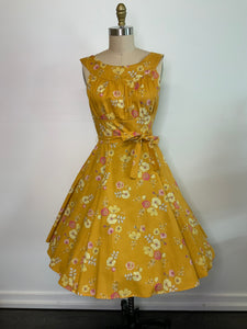 HEART OF HAUTE- MUSTARD FLORAL AMANDA DRESS
