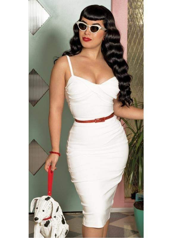 STOP STARING MILLION- WHITE FITTED DRESS