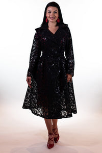 Grace & Glam- LONG BLACK RAINCOAT