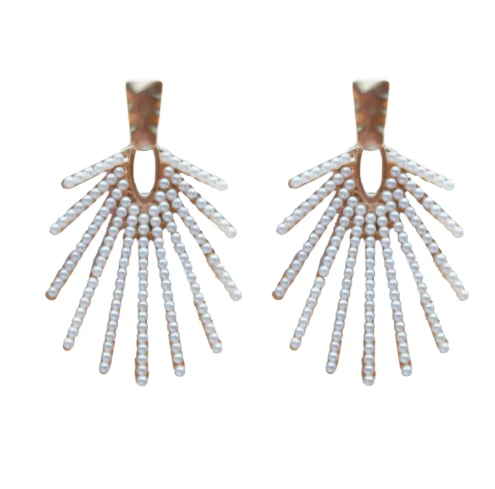 ST. ARMANDS DESIGNS- SUN BURST PEARL DROPS EARRINGS