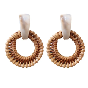 ST. ARMANDS- CREAM RATTAN EARRING
