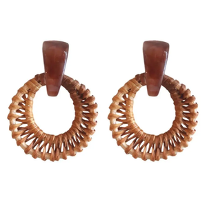 ST. ARMANDS- BROWN RATTAN EARRINGS