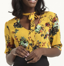Load image into Gallery viewer, VOODOO VIXEN- MUSTARD FLORAL BLOUSE