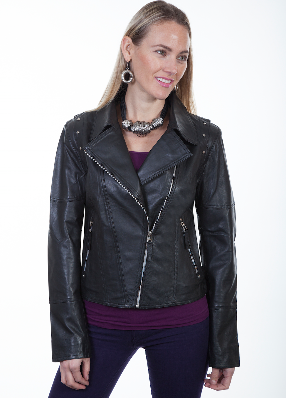 SCULLY- BLACK LEATHER MOTO JACKET