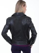 Load image into Gallery viewer, SCULLY- BLACK LEATHER MOTO JACKET