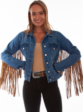 Load image into Gallery viewer, SCULLY- FRINGE DENIM JACKET