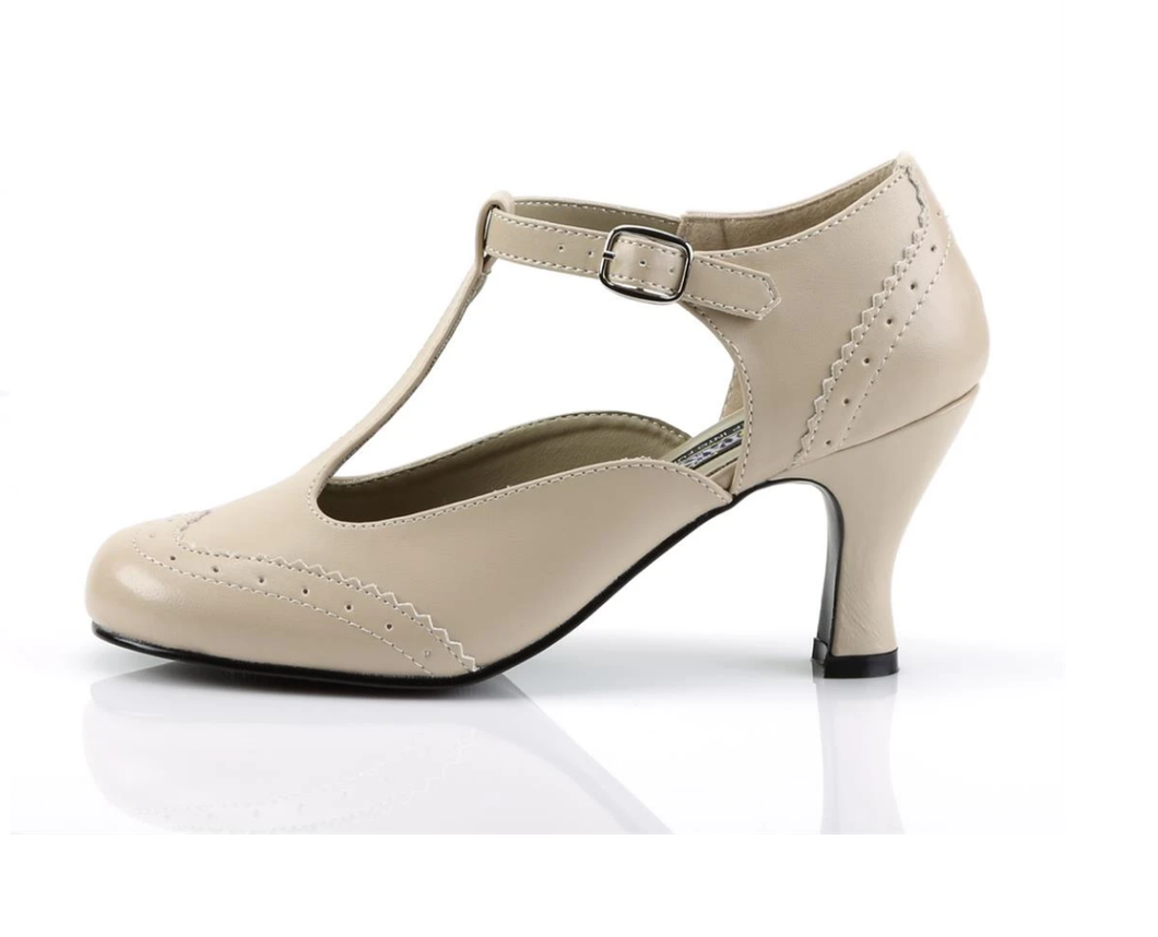 FUNTAISMA- FLAPPER CREAM KITTEN HEEL
