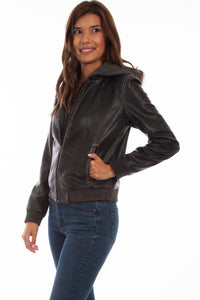 SCULLY- HOODED LEATHER MOTO