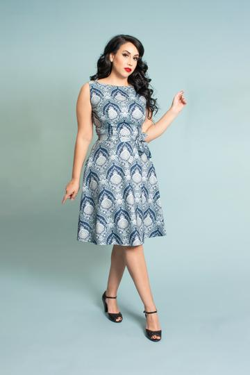 HEART OF HAUTE- BLUE PAISLEY DRESS