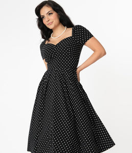 UNIQUE VINTAGE- SHORT SLEEVE POLKA DOT SWING DRESS