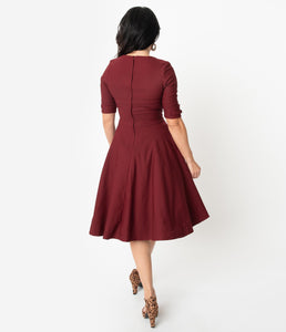 UNIQUE VINTAGE- BURGUNDY SWING DRESS