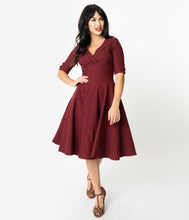 Load image into Gallery viewer, UNIQUE VINTAGE- BURGUNDY SWING DRESS