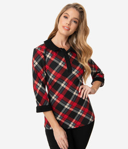 UNIQUE VINTAGE- PLAID 3/4 SLEEVE TOP