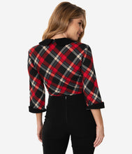 Load image into Gallery viewer, UNIQUE VINTAGE- PLAID 3/4 SLEEVE TOP