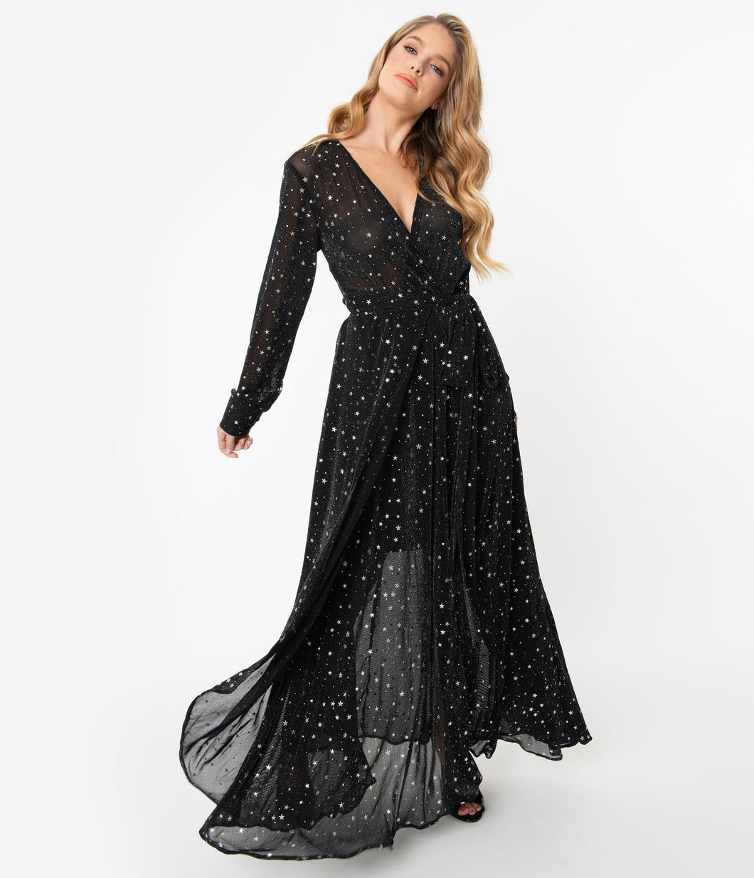 UNIQUE VINTAGE- METALLIC MAXI STARS DRESS