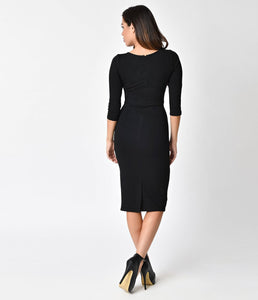 UNIQUE VINTAGE- LONG SLEEVE MOD WIGGLE DRESS