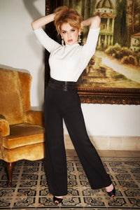 VINTAGE DIVA- CHLOE SWING PANTS BLACK