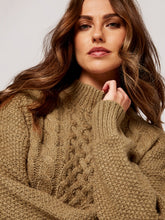 Load image into Gallery viewer, APRICOT- CABLE KNIT SWEATER
