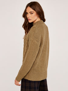 APRICOT- CABLE KNIT SWEATER