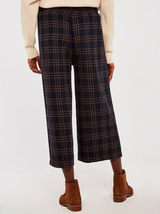 APRICOT- NAVY PLAID CULOTTES