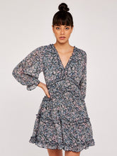 Load image into Gallery viewer, APRICOT-  BLUE FLORAL DRESS L/S
