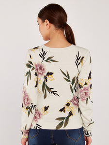APRICOT- FLORAL SWEATER TOP