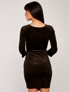 APRICOT- BLACK WITH GOLD SHIMMER FAUX WRAP DRESS