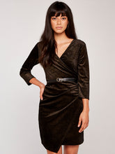 Load image into Gallery viewer, APRICOT- BLACK WITH GOLD SHIMMER FAUX WRAP DRESS