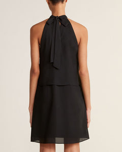 APRICOT- BLACK HALTER NECK LAYERED DRESS