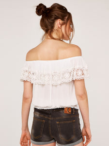 APRICOT- SMOCK WAIST OFF SHOULDER TOP