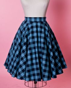 HEART OF HAUTE- BLUE BUFFALO PLAID CIRCLE SKIRT