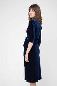 CAMEO- VELVET WRAP DRESS IN SAPPHIRE AND EMERALD
