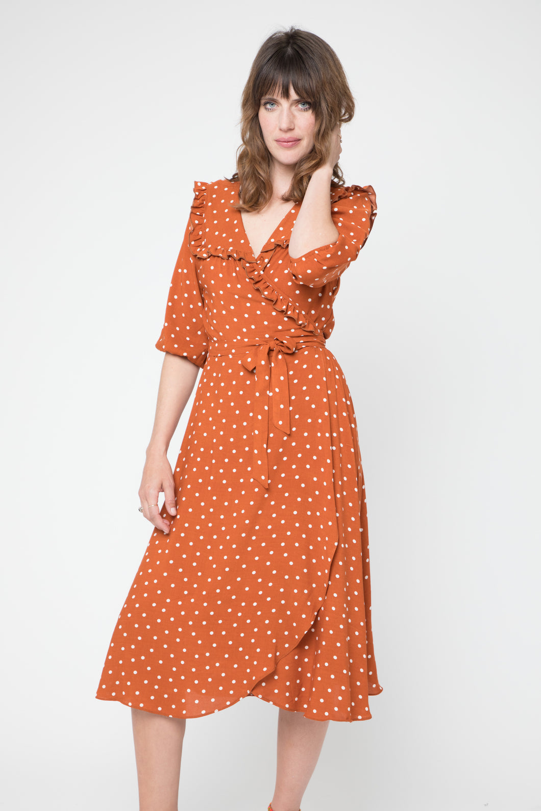 CAMEO- POLKA DOT RUFFLE WRAP DRESS