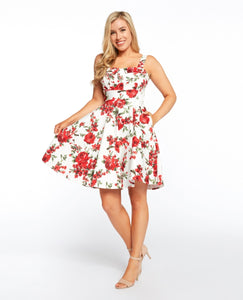 EVA ROSE- FOLD-OVER FIT & FLARE FLORAL DRESS