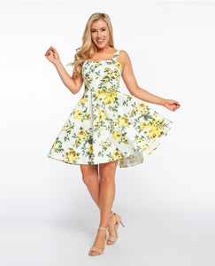 EVA ROSE- WHITE YELLOW ROSE FIT & FLARE