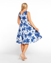 Load image into Gallery viewer, EVA ROSE- BLUE FLORAL FIT & FLARE