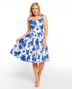 EVA ROSE- BLUE FLORAL FIT & FLARE