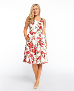 EVA ROSE- RED FLORAL FIT AND FLARE