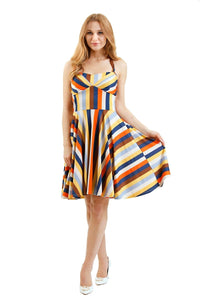 EVA ROSE- STRIPED DRESS WITH SWEETHEART NECK