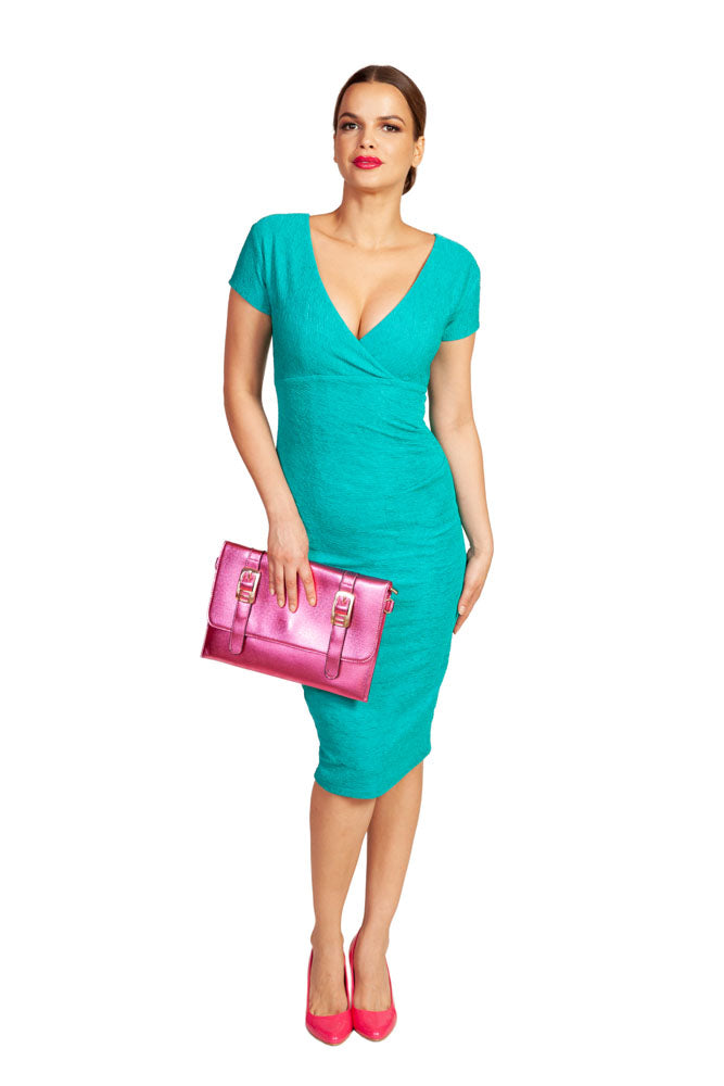 GRACE AND GLAM- TEAL FITTED DRESS
