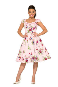 HEART & ROSES- PINK FLORAL SWING DRESS