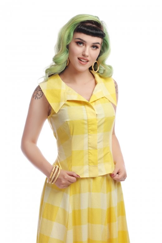 COLLECTIF- YELLOW SUN CHECK TOP